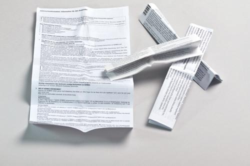 Übersichtsbild zum Bestellen von Beipackzetteln in DIN A4 und kleiner