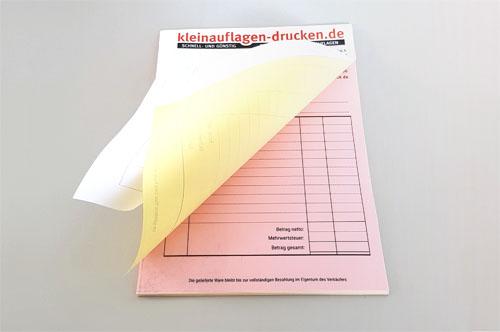 Übersichtsbild zum Bestellen von 3-fachen selbstdurchschreibenden Sätzen in DIN A4