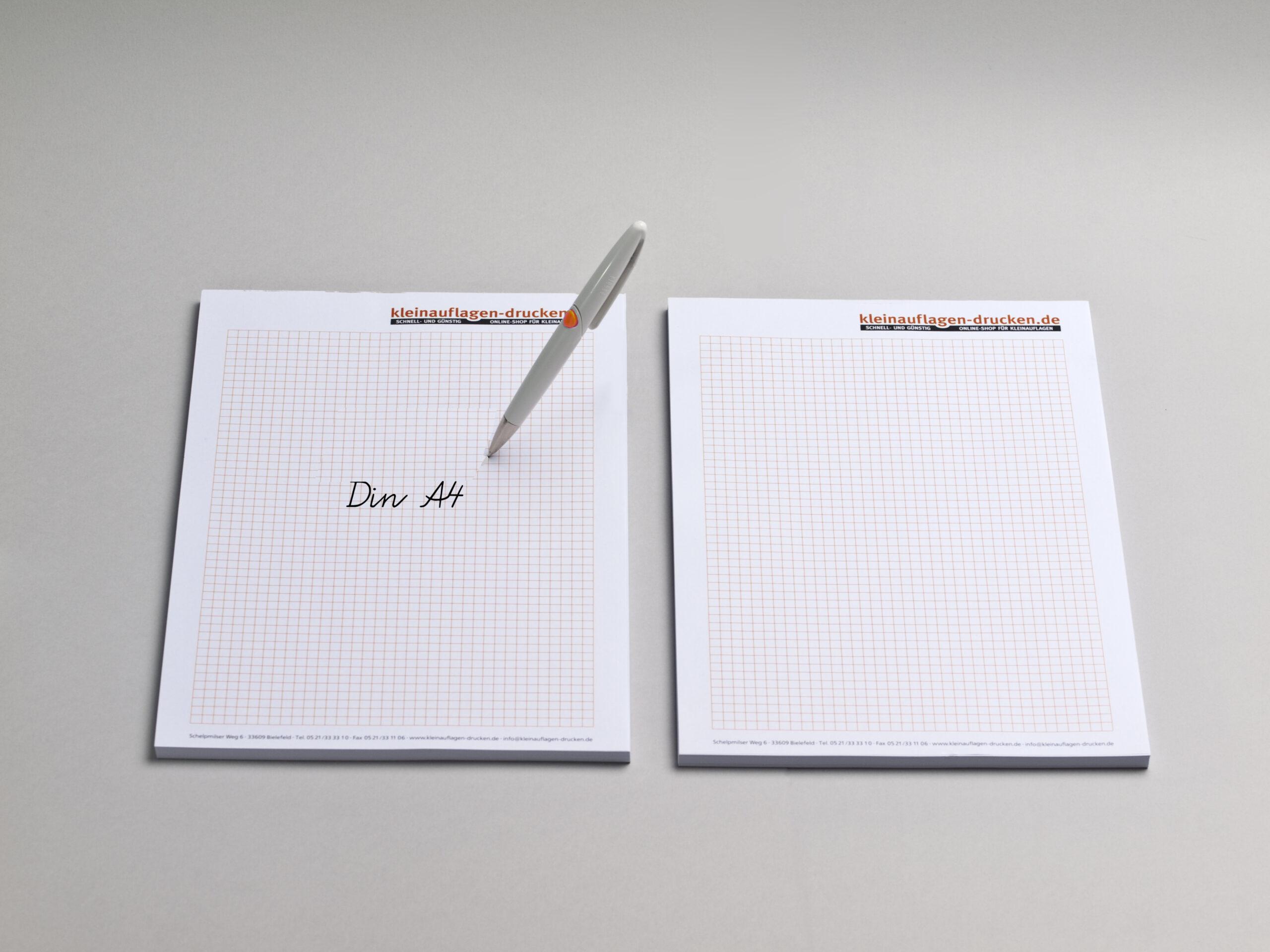 Übersichtsbild zum Bestellen von Schreibblöcken in DIN A4